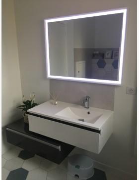 Aquamare Meuble Salle De Bain Simple Vasque 2 Tiroirs Decales Gris Et Blanc