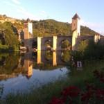 Most v Cahors přes který vede Svatojakubská cesta ve Francii