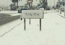 Sněžení v jihoportugalském Algarve ve městě Tavira.