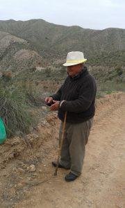 Španělský důchodce v regionu Alemría v horách při sběru chřestu