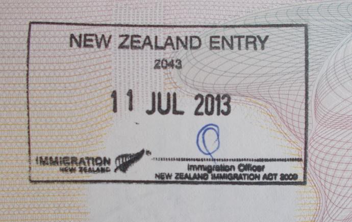 Vstupní razítko working holiday Nový Zéland