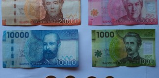 Chilská měna, Chile peníze, bankovky, měna pesos, peso, Chile