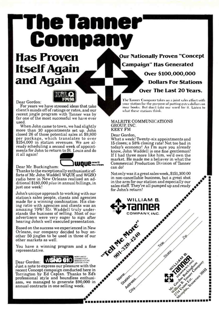 W.B. Tanner - Advertentie 04.04.1983