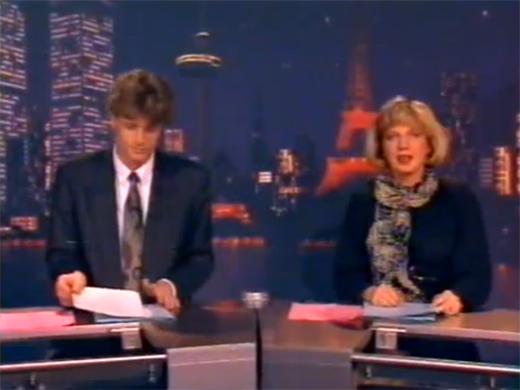 Jeroen Pauw (L) en Loretta Schrijver in het RTL Veronique Nieuws 1990 - bron Youtube