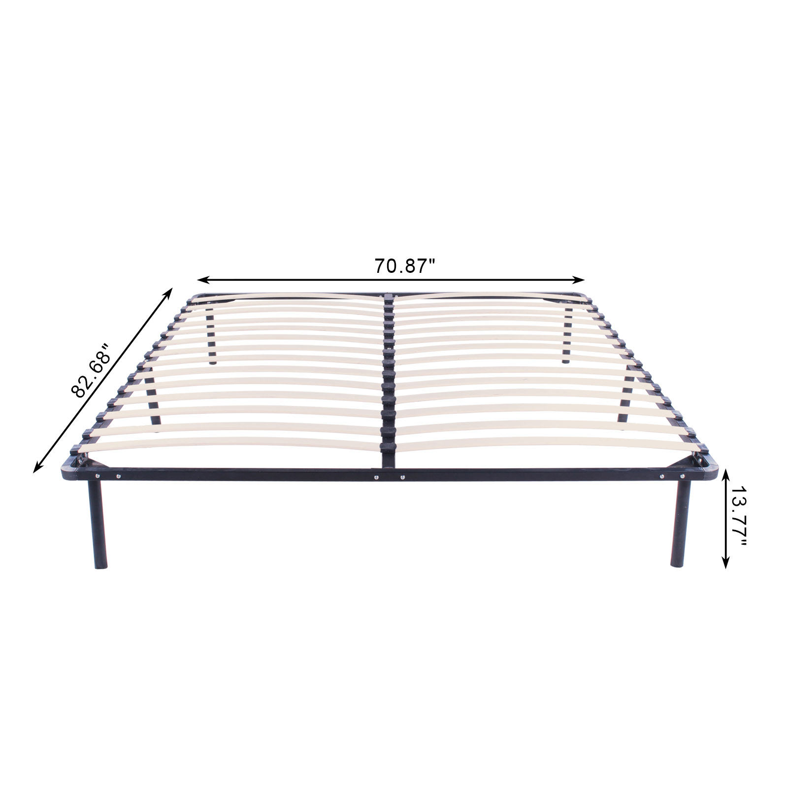 Full King Queen Size Wood Slats Metal Platform Bed Frame