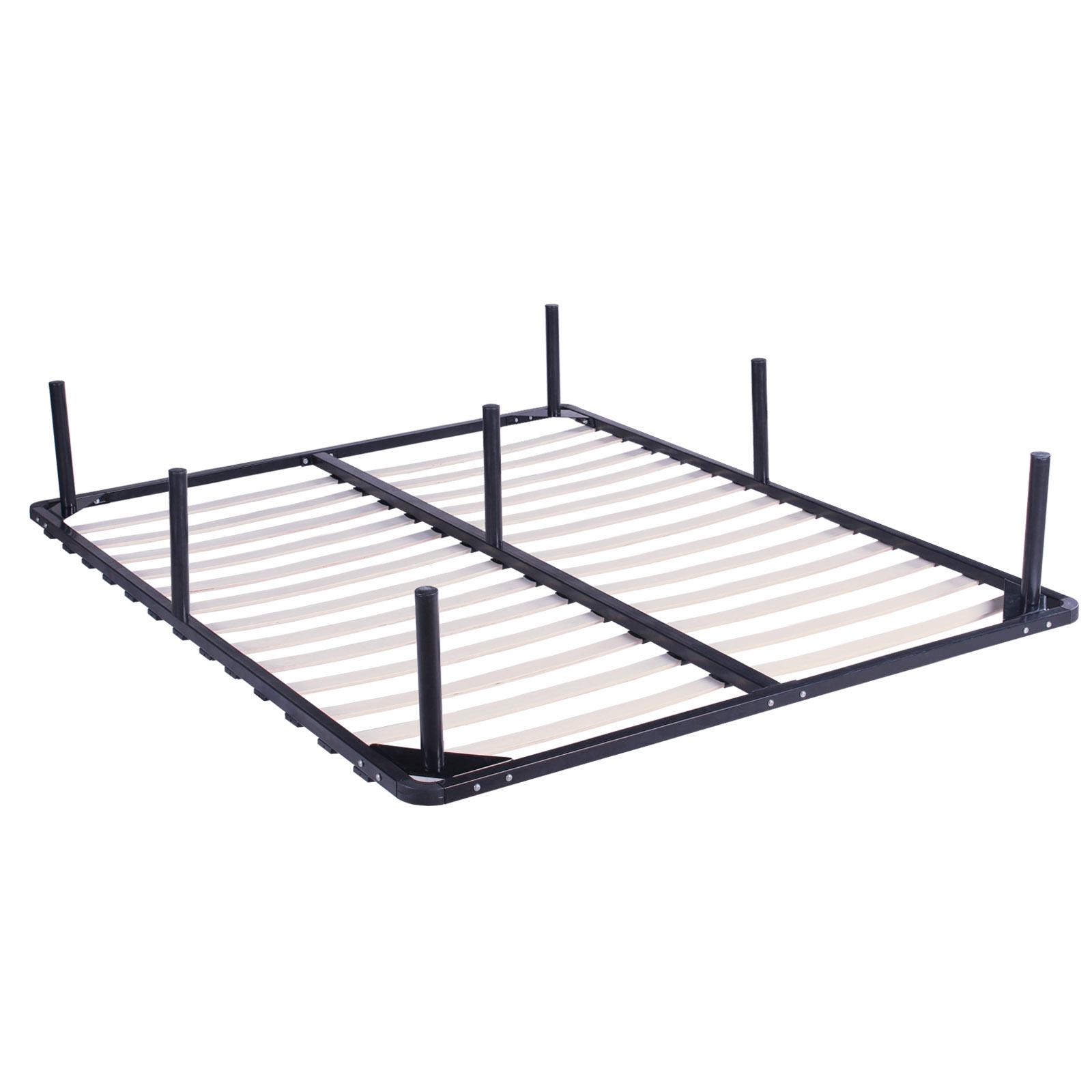 King Size Wood Slats Metal Bed Frame Platform Foundation