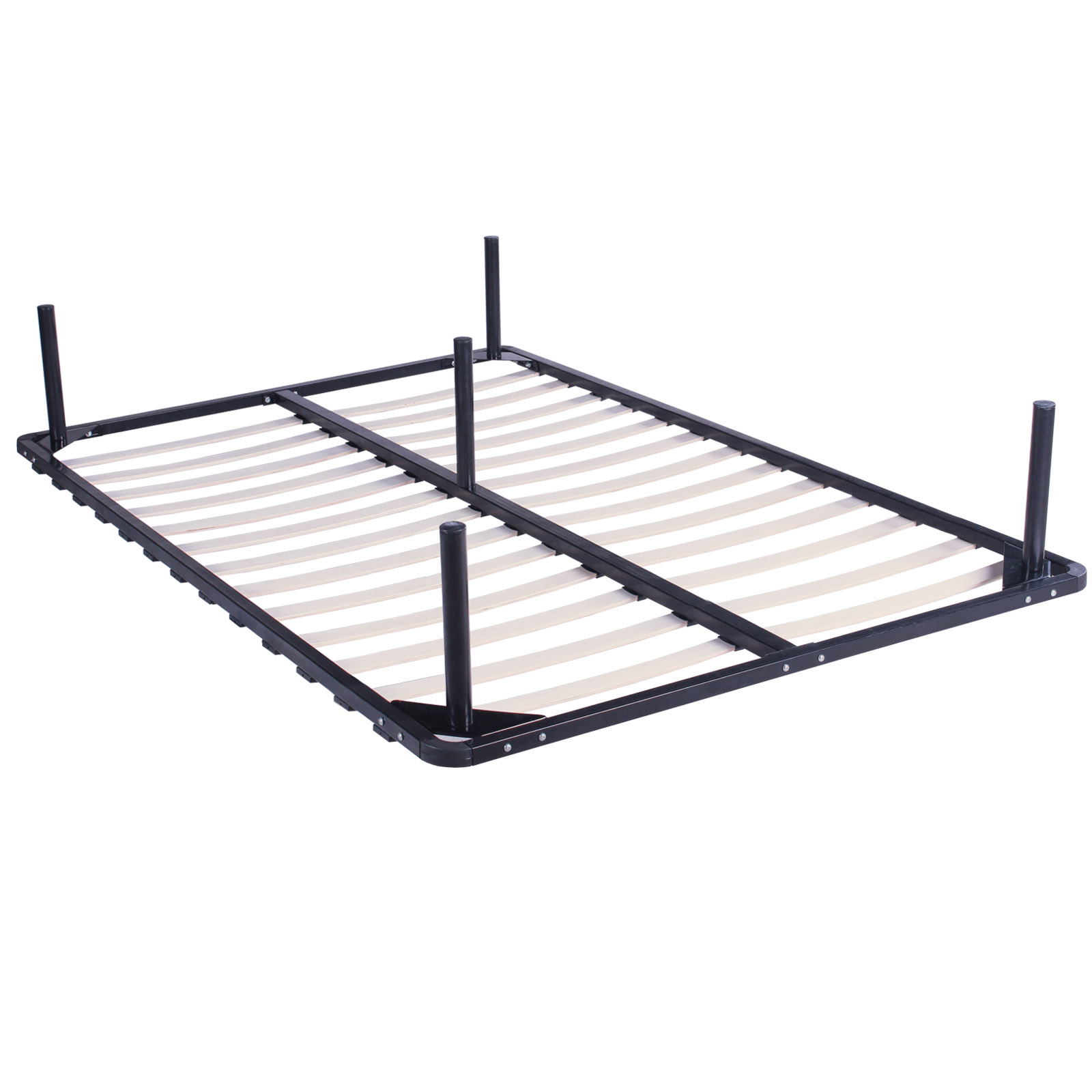 Queen Size Wood Slats Metal Bed Frame Platform Bedroom