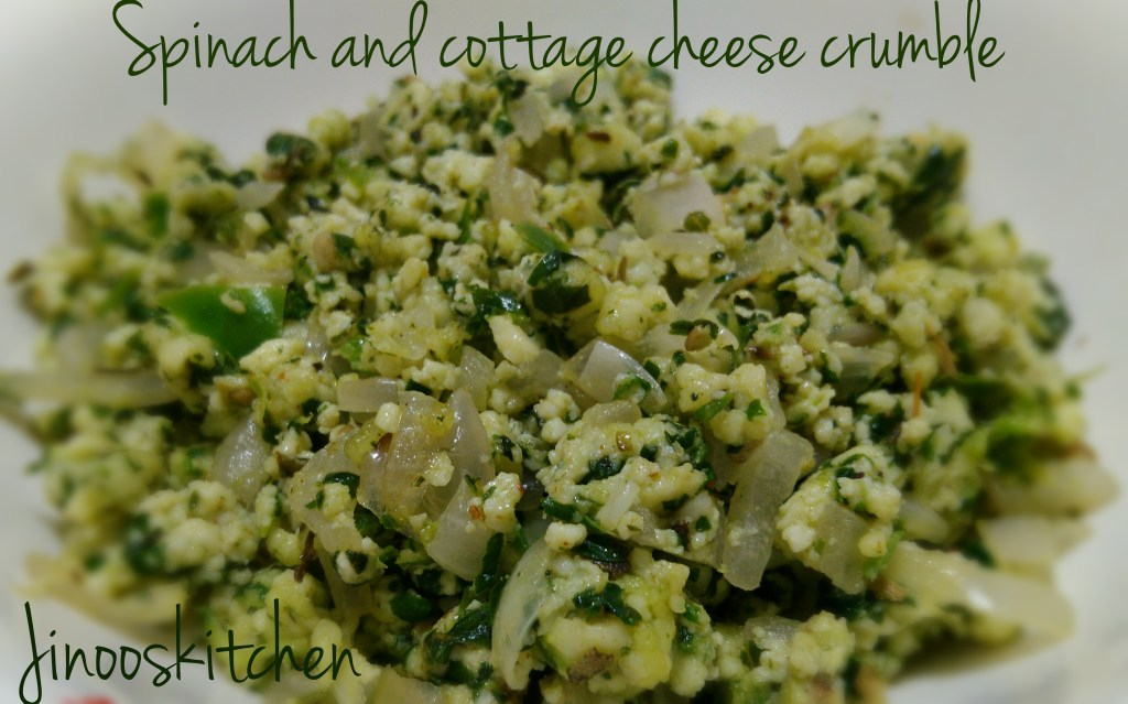 Spinach and cottage cheese Crumble