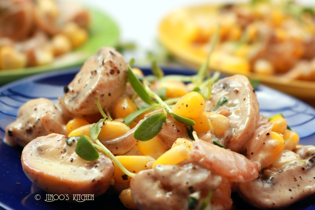 Mushroom Mayo salad with methi micro greens and sweetcorn | healthy Indian salad recipes