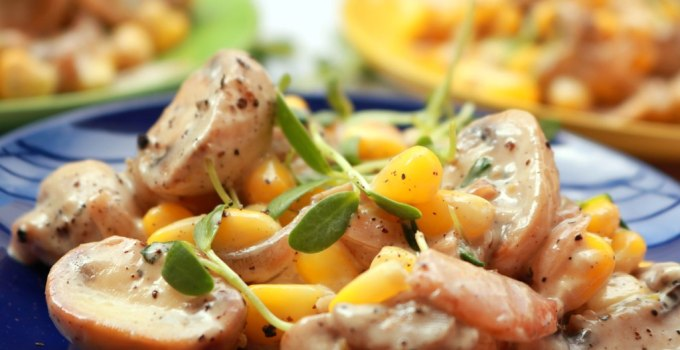 Mushroom Mayo salad with methi micro greens and sweetcorn | healthy Indian salad recipes