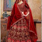 Shop Designer Maroon Velvet Embroidered Wedding Lehenga Choli With Georgette Dupatta Online