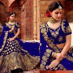 Shop Online Higly Demanded Royal Blue Velvet Embroidered Bridal Lehenga Choli With Mono Net Dupatta