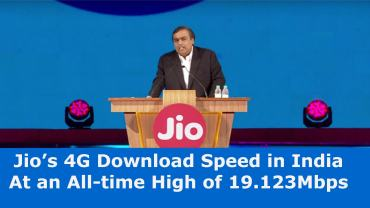 Jio 4g Download Speed in india all time high
