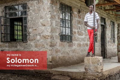 """""""My name is Solomon. I was born in Machakos in 2001. I am the oldest of 5 children. My family struggles with alcoholism, hunger, and poverty. I study very hard to overcome these challenges. My #JitegemeeDream is to be successful so I can help my family out of poverty."""""""