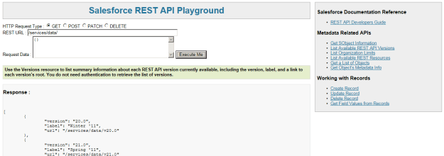 REST API playground in Salesforce