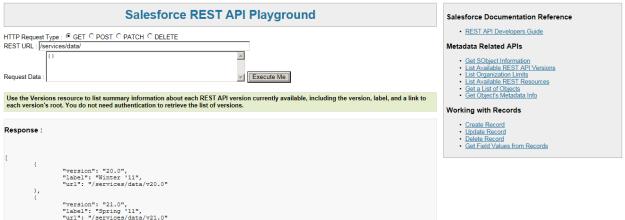 REST API playground in Salesforce