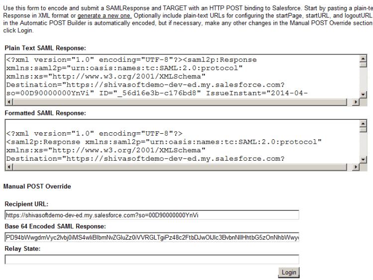 Login using SAML Response from AXIOM