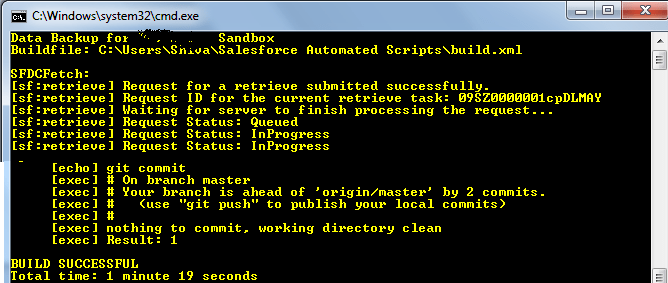 Salesforce Automated Script for Data Backup Using CommandLine