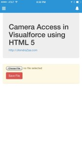 Visualforce Camera Access - Front Page
