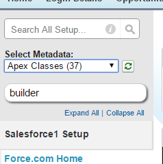 Salesforce Advanced Code searcher below quick search
