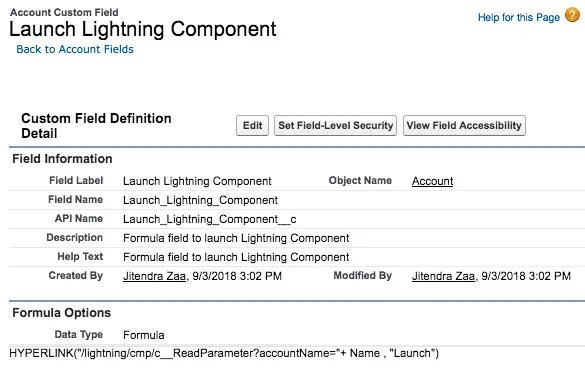 Formula Field to Launch Lightning Component