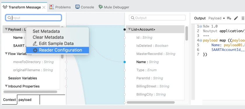 Reader Configuration in Transform Message - Mulesoft 3