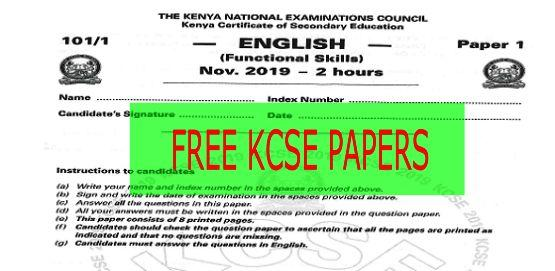 Free KCSE revision papers with answers