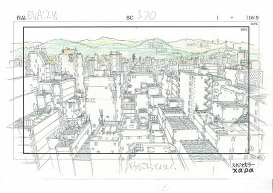 © Hideaki Anno, Layout-Zeichnung für Evangelion: 2.0 You Can (Not) Advance, Bleistift auf Papier