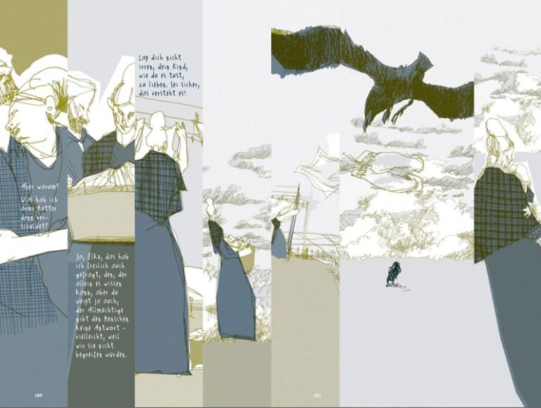 Ute Helmbold. Der Schimmelreiter, 2013, Graphic Novel, Doppelseite.