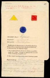 Unbekannt, Fragebogen der Werkstatt für Wandmalerei, 1922/23 Lithographie auf Papier, Bleistift und Farbstifte Bildnachweis: Bauhaus‐Archiv