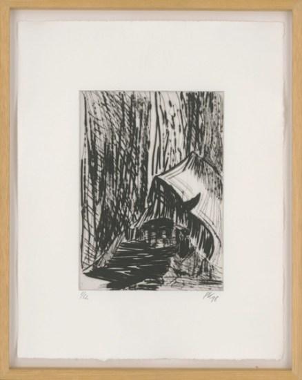 Per Kirkeby, Tag für Tag, Blatt IX, 1998; Kaltnadel; Platte: 189 x 138 mm, Blatt: 321 x 253 mm; Galerie Sabine Knust, München, © Per Kirkeby, Foto: Staatliche Graphische Sammlung München
