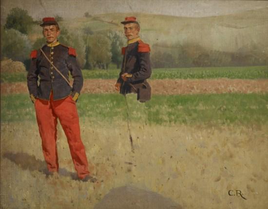 Carl Röchling, (1855–1920): Zwei Soldaten auf einem Feld, Studie, Öl auf Leinwand Stiftung Saarländischer Kulturbesitz Saarlandmuseum Saarbrücken