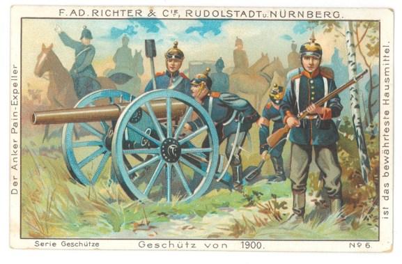 Geschütz von 1900 Sammelbildchen zu F. Ad. Richters Chokoladen und Cacao-Produkten, undatiert, Privatsammlung Baden-Baden