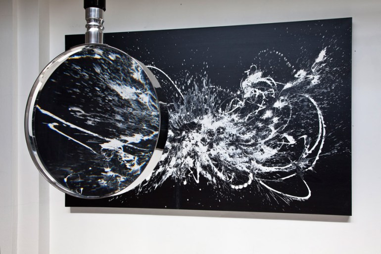 Katrin Fridriks Gene & Ethics Stardust Master, 2014, 280 x 180 cm Magnifying glass installation Courtesy: Fridriks Workshop