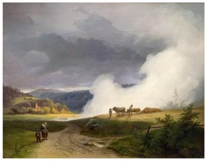Ignaz Raffalt, Voralpenlandschaft mit aufsteigendem Nebel, 1845, Öl auf Leinwand, 42,2 x 52,8 cm, Sammlung Neue Galerie Graz, Foto: Universalmuseum Joanneum/N. Lackner