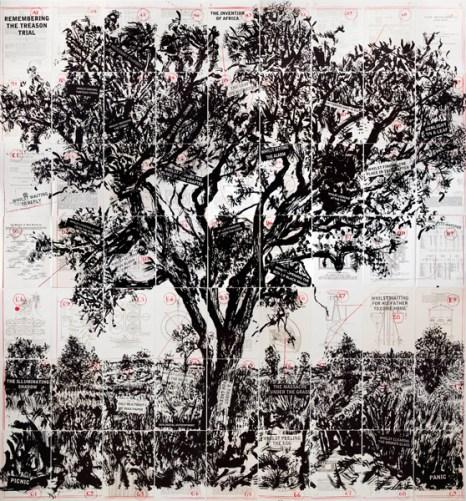 William Kentridge: Remembering the Treason Trial, 2013. Lithographie, dreifarbig, faltbar, 196 x 180 cm. © William Kentridge
