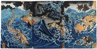 """Utagawa Kuniyoshi (1797–1861) """"Wasserdämonen auf dem Meer bringen in der Provinz Higo am Morgen Gefahr und im Sturm"""" o.J., Signatur: Ichiyusai Kuniyoshi ga, Triptychon (3 Oban-Formate), Sammlung Neue Galerie Graz / Universalmuseum Joanneum"""