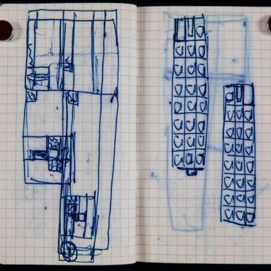 Peter Märkli (*1953) Skizzen für La Congiunta, Giornico, Schweiz ca. 1992 Kugelschreiber auf kariertem Papier 110 x 140 mm Courtesy Drawing Matter, © Peter Märkli