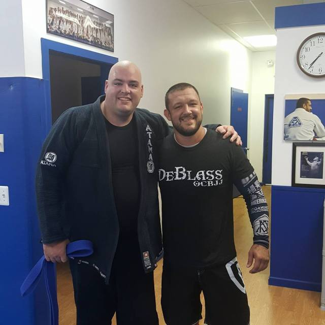 Patrick stops by Ocean County BJJ to train with Tom DeBlass--photo courtesy of Patrick Pallies