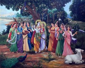 Krishna and gopis (Jiva painting)