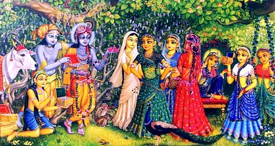 Krsna and Balaram with gojis