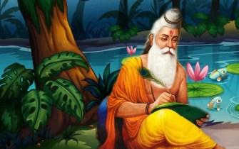 Sage Vashistha writing on palm leaf