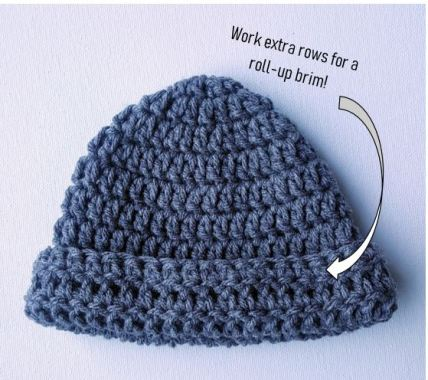 crochet baby hat with brim