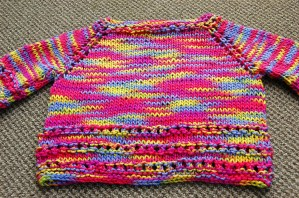 Back of Knitted Baby Sweater