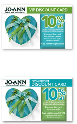 Jo-Ann Fabric VIP Non-Profit Discount Card Rewards Program