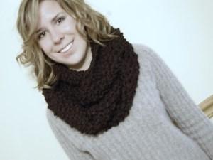 Chunky Knit Cowl - Black - JJCrochet