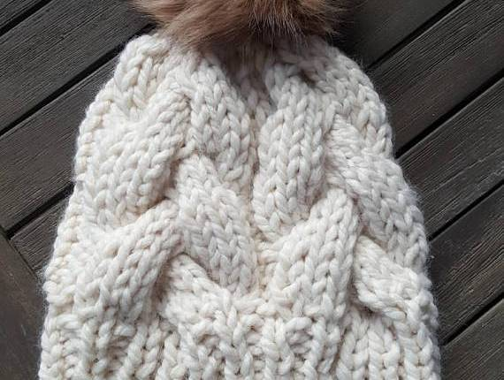 chunk knit hat with pom pom