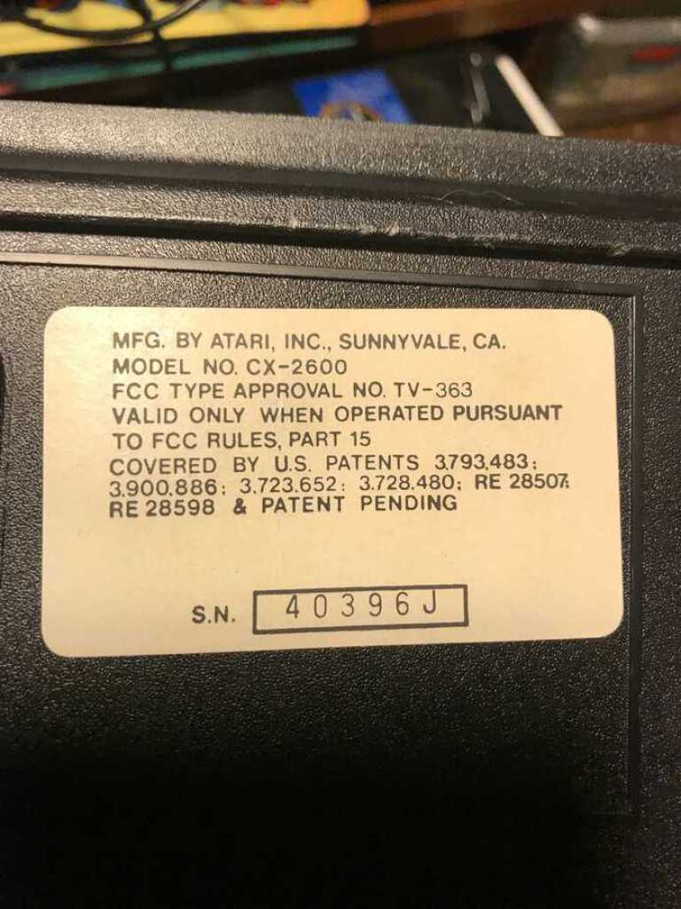 jjATR-HC Atari VCS CX2600 serial number label