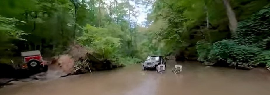 Jeep Wrangler Parked in the Water