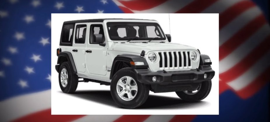 Stock Jeep Wrangler with a Flag